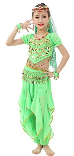 Astage Girls Cosplay Belly Dance CostumeGreen S(Fits - Bollywood Costume Kids