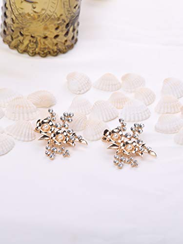 AW Set of 2 Gold Flower Wedding Hair Clip Pin Set - Crytal Pearl Bridal Headpiece Hair Accessories for Women (Headpiece Set)