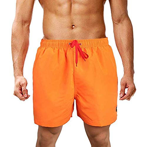 iHHAPY Men's Beach Shorts Letter Embroidery with Pocket Short Pants Casual Solid Color Straight Slim Fit Mutiple Color Orange ()