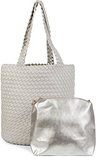 styleBREAKER reversible bag in woven look, shopping bag, hand bag, set of 2 bags, bag in bag, shoulder bag, ladies 02012182, Color Gold/Beige Light Grey/Silver