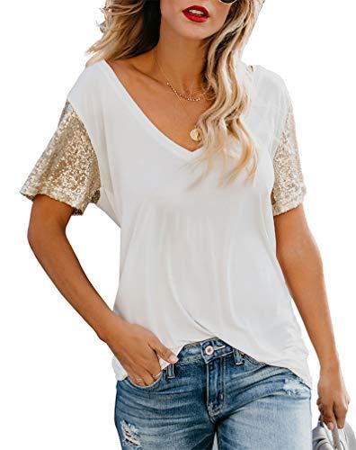 Top T-shirt Sequin - Topstype Women's Sequin Short Sleeve Tee V Neck T Shirts Sequin Loose Blouse Tops