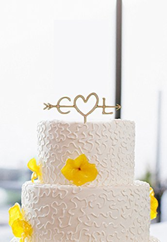Vintage Personalized Wedding Cake Toppers Initial Letter Rustic Wedding Cake Decorations (Fishing Wedding Cake compare prices)
