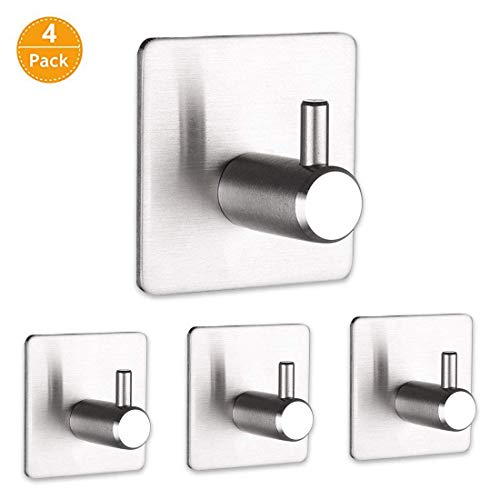 YOCICO Stainless Steel Self Adhesive Hooks,Towel Wall Coat Hooks Hanger Heavy Duty Wall Hanger Hanging for Robe, Kitchen Bathroom Waterproof Hooks Ultra Strong Metal Adhesive Towel Hooks - 4 Packs