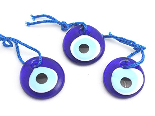 Luckymojo 3Pcs 3Cm 1 2 Inches Glass Blue Evil Eye Charm Nazar Boncuk For Protection