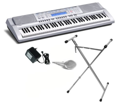 Casio WK-210 PACKAGE 76 Keys Electronic Keyboard with 570 High Quality Tones, FREE Stand, FREE Adapter and FREE Microphone