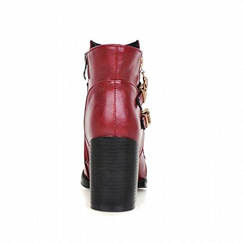 Red Short Fashion Boots Zipper High Buckles Heel Carolbar Retro Vintage Womens qgfgT
