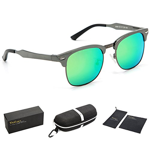 Dollger Classic Polarized Clubmaster Sunglasses Semi Rimless Green Mirror - Classic Clubmaster