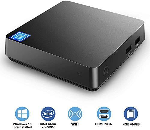 Mini PC,Intel Atom Z8350 Windows 10 Pro Mini Computer 4GB DDR 64GB eMMC,Support 4K HD,HDMI+VGA Output,2.4G/5G WiFi AC,2.5 inch SSD,Bluetooth,1000Mbps Ethernet