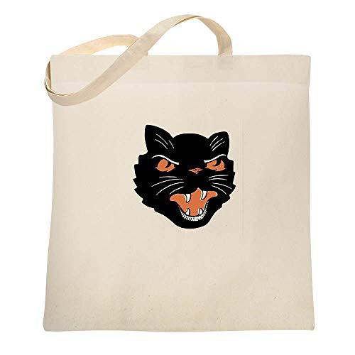 Black Cat Retro Halloween Decoration Natural 15x15 inches Canvas Tote -