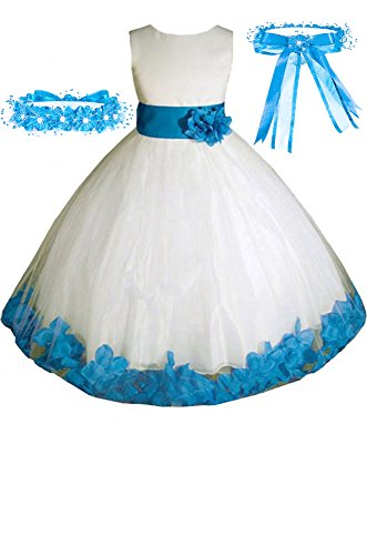 Big-Girls' Ivory/Turquoise Flower Girl Dress w/Free Matching Hair Wreath Sz -