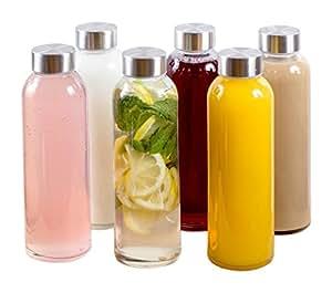 Estilo Glass Water Bottles 18 oz., Stainless Steel Cap-Case of 6