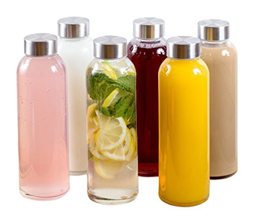 Estilo Glass Water Bottles 16 oz, Stainless Steel Cap - Case of 6
