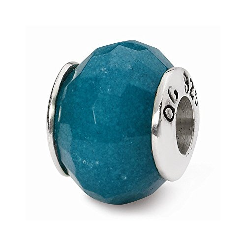Sterling Silver Reflections Light Blue Quartz Stone Bead ()