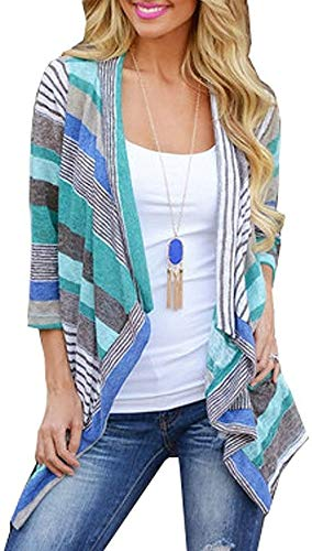 Women's Casual Front Cable Cardigans 3/4 Sleeve Striped Printed Cardigan Blue Small
