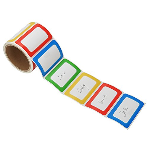 MFLABEL Colorful Plain Name Tag Labels - 200 Stickers - 3 1/2 X 2 1/4