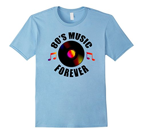 80s Mens Fashion (Mens 80s Music Forever Shirt | Retro Fashion Vinyl Notes Gift XL Baby Blue)
