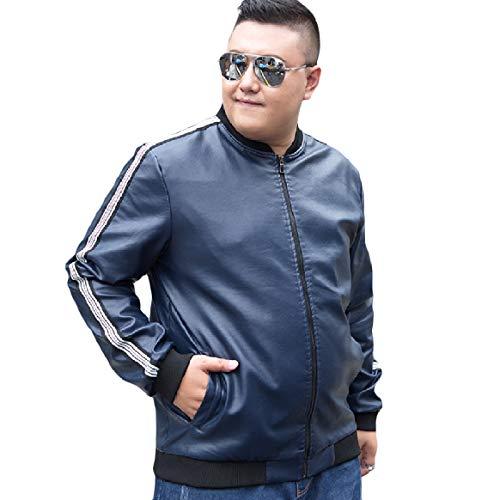 RkBaoye Men Plus Velvet Leisure Bomber Jacket Oversize Stand Up Collar Dark Blue