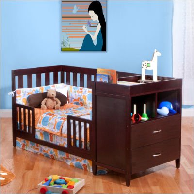 amazoncom bsf baby austin convertible crib n changer espresso baby - Convertible Baby Cribs