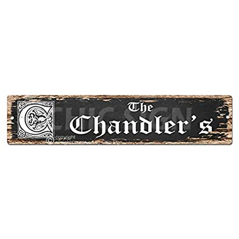 Amazon Com The Chandler S Family Name Plate Sign Vintage Rustic