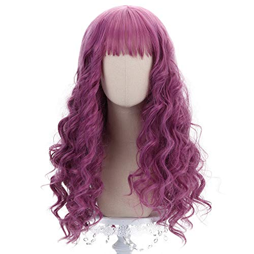 Cyy Halloween Party (Long Pink Curly Princess Wigs-Synthetic Women Girl Wavy Party Cosplay Halloween Costume Lolita Wig with)