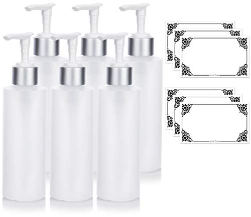 Clear Natural Refillable Plastic Squeeze Bottle with Silver Pump Dispenser - 6 oz (6 Pack) + Labels ()