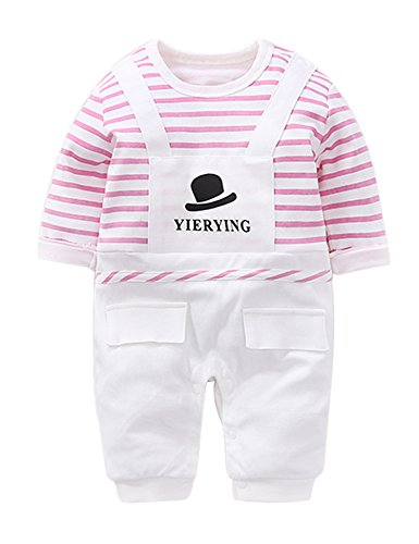 D.B.PRINCE Newborn Baby Boy Romper Jumpsuit Gentleman Suit Long Sleeve Bodysuit Clothes with Bow Tie (Pink hat, 9-12 - Pink Striped Onesie