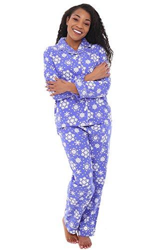 Alexander Del Rossa Women's Warm Flannel Pajama Set, Long Button Down Cotton Pjs, Medium Purple Snowflake (A0509Q54MD)