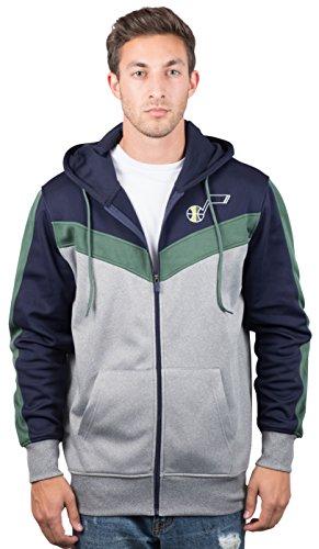 Unk Nba Nba Mens Utah Jazz Full Zip Hoodie Sweatshirt Jacket Contrast Back Cut  Large  Blue