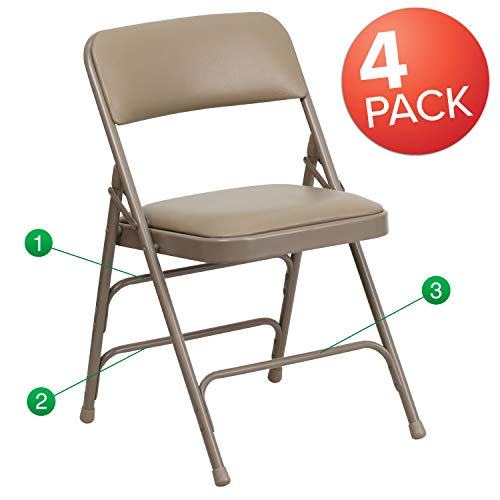 Brown Padded Seat - Flash Furniture 4-Pack Metal Frame Vinyl Folding Chairs, Beige