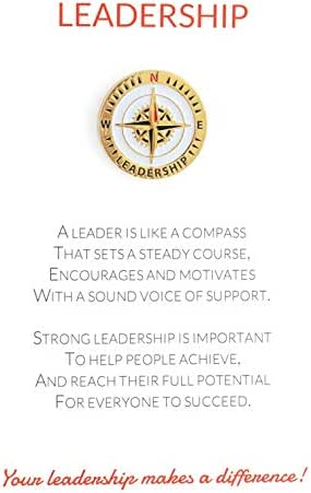 Leadership Appreciation Greeting Card & Unique Lapel Pin Gift, Excellent for Employee, Manager, Teacher, Student, Co-Worker, Volunteer Recognition and Thanks