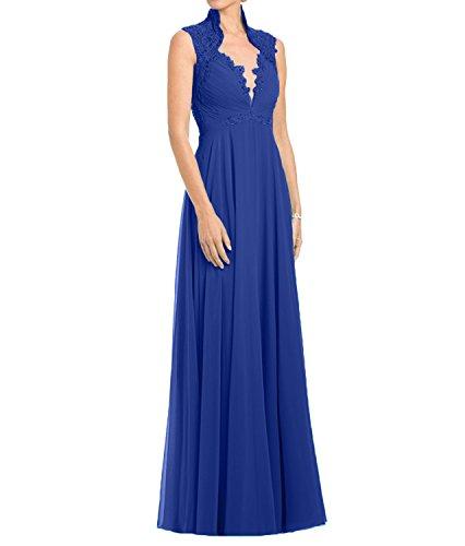Dunkel Lang Abendkleider Brautmutterkleider Chiffon Damen Tuerkis Royal Blau A Charmant Ballkleider Rock Spitze Linie 5X4wq8xU