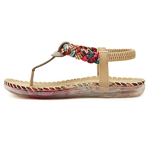 YoungSoul Sandalias planas con adornos del rhinestone - Chanclas de verano con tira para el dedo - Sandalias de vestir con tira trasera para mujer Albaricoque