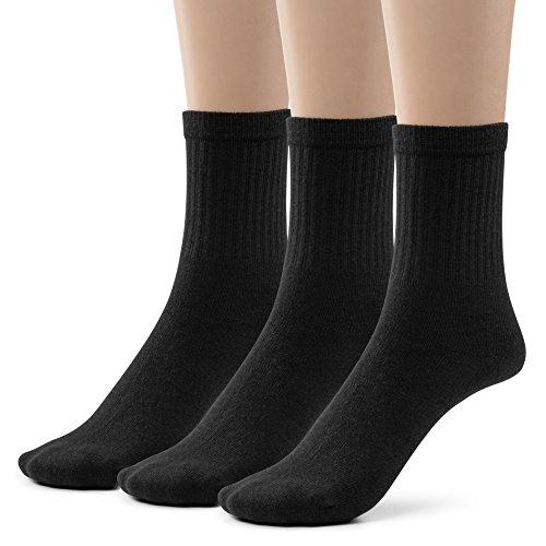 Boys Cotton Ribbed Crew Dress Socks (Extra Large (10-13), Black)