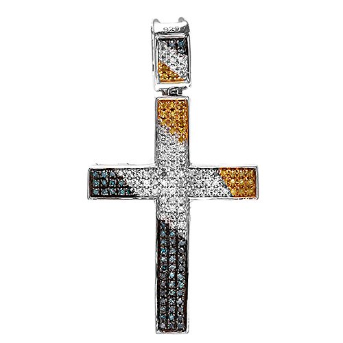 Dazzlingrock Collection 0.40 Carat (ctw) Blue, White & Yellow Round Diamond Micro Pave Cross Ladies Pendant, Sterling Silver