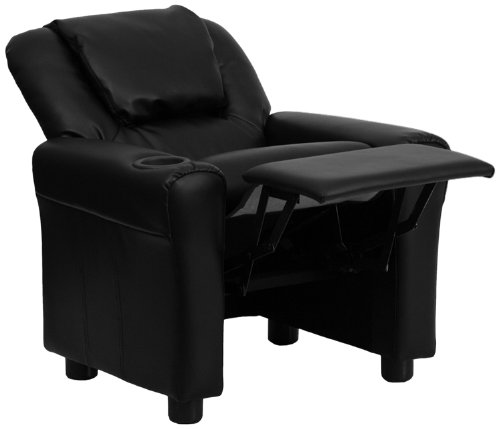 (Flash Furniture Contemporary Black Leather Kids Recliner with Cup Holder and Headrest)