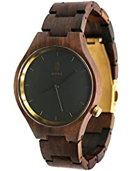 Hstyle Fashion Mens Handmade Chocolate Wooden Watches Unique Natural Wood Watches with Sapphire Glass