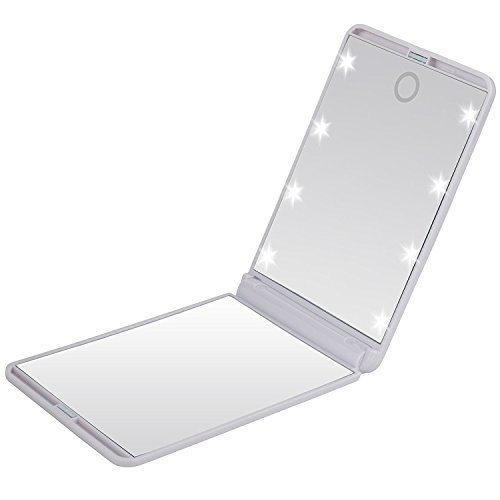 Pocket Makeup Mirror With LED Light (White) - 6