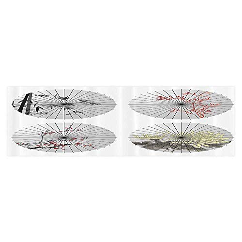 (Leigh R. Avans Background Fish Tank Decorations Oriental Umbrella Shapes with Cherry Blossom Bamboo Patterns Parasol Artwork PVC Paper Cling Decals Sticker)