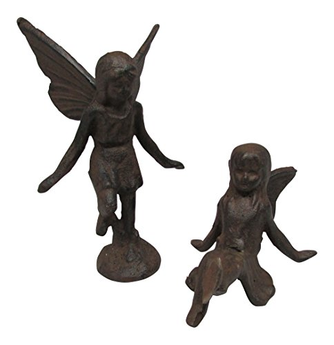 Cast Iron Fairy Garden Statue  Set of 2 Sitting and Standing