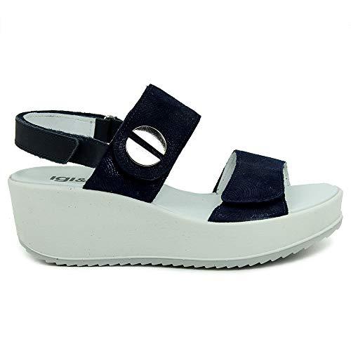 Blu Blu Pelle Sandalo Pelle Igieco Pelle Donna Sandalo Sandalo Igieco Donna Igieco Donna 7anwR