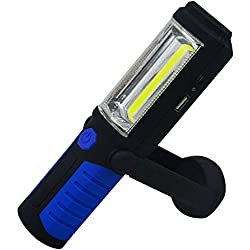 Baiyu COB LED Work Light Inspection Lamp Technology Hand Torch Rechargeable with Handing Hook and Magnetic Base Flashlight for Camping Hunting Fishing Hiking Backpacking Auto Emergency--Blue