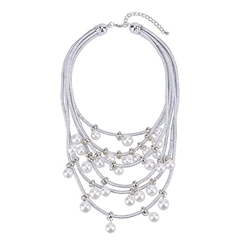NEOWOO Pendant Pearls Choker Big Chunky Collar Bib Necklace Multi-Row Strand Fashion Jewelry for Women Girls (Silver) by NEOWOO (Image #7)