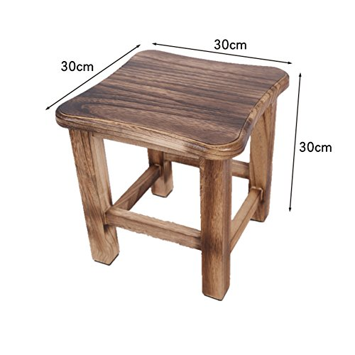 D&L Solid wood Vintage FootStool, Creative Home Living room Seat Stool Square 4 legs Wooden Shoe Stool-D L30xW30xH30cm by D&L