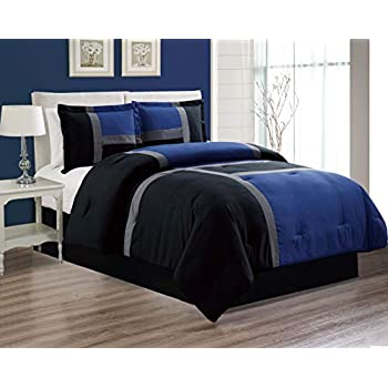 4-Piece All-Season Down Alternative Quilted Patchwork FULL Size Comforter Set- Hypoallergenic Summer Cooling Ultra Soft Bedding- Plush Microfiber Fill - Machine Washable (Navy, Blue, Black, White)