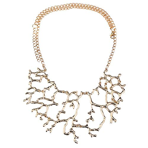 YAZILIND Coral Tree Branch Shape Pendant Necklace Fashion Sweater Chain Accessories Women Birthday Jewelry Gift(Gold)