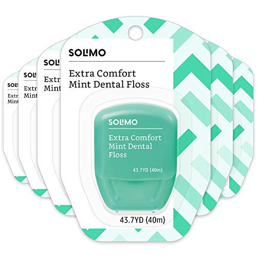 Amazon Brand - Solimo Extra Comfort Mint Dental Floss, 40 M (Pack of 6) (Dental Floss Glide Mint)