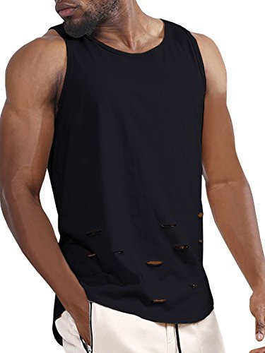 Enjoybuy Mens Basic Tank Tops Ripped Curved Hem Casual Loose T Shirt for ()