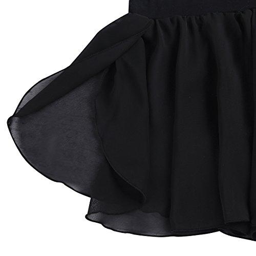 Freebily Kids Girls Dance Basic Classic Chiffon Mini Pull-On Wrap Skirt Black 7-8 by Freebily (Image #3)