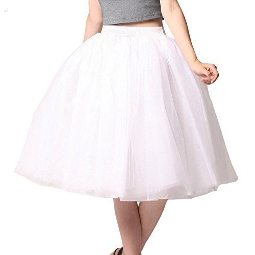 Women A Line Knee Length Tulle Skirt Formal Tutu for Prom Party (White Tutu Skirt)