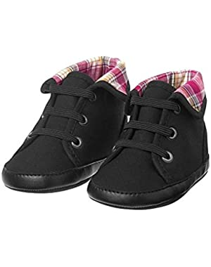 Hoot & Hop Baby Boys Black High Top Crib Shoes 3
